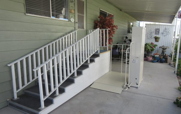 Mac's Vertical Home Lift model PL-50 w/ 90 degree exit platform