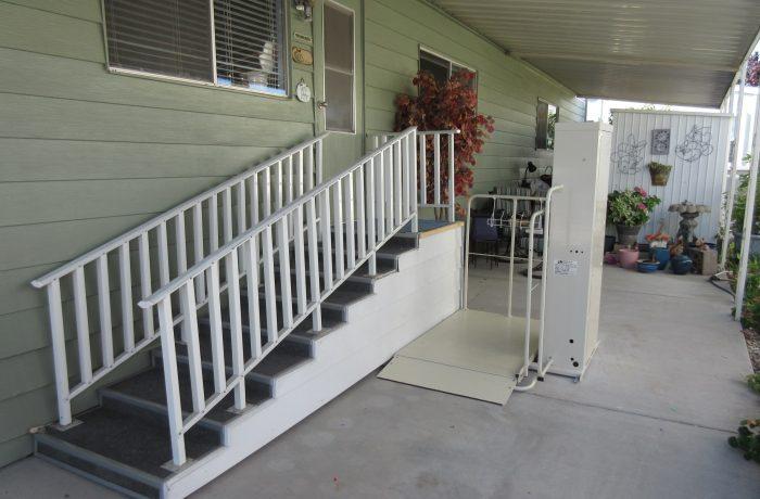 Mac's Vertical Home Lift model PL-50 w/ 90 degree exit platform